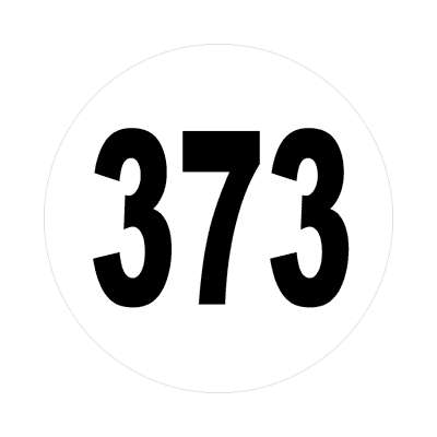 number three hundred seventy three 373 sticker math plain number