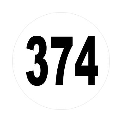 number three hundred seventy four 374 sticker math plain number