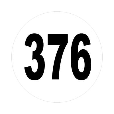 number three hundred seventy six 376 sticker math plain number
