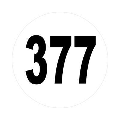 number three hundred seventy seven 377 sticker math plain number