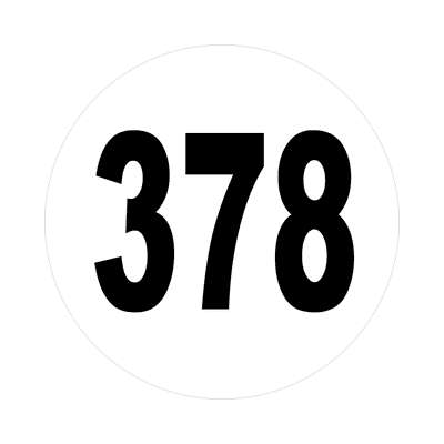 number three hundred seventy eight 378 sticker math plain number