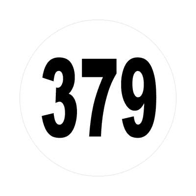 number three hundred seventy nine 379 sticker math plain number