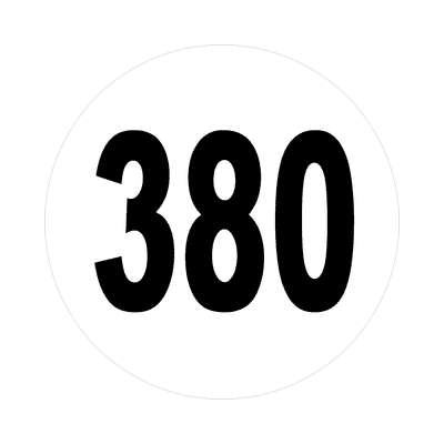 number three hundred eighty 380 sticker math plain number