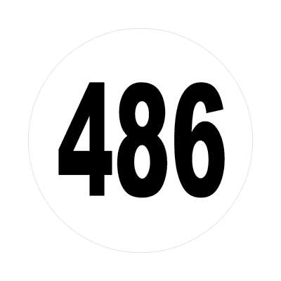 number four hundred eighty six 486 sticker math plain number