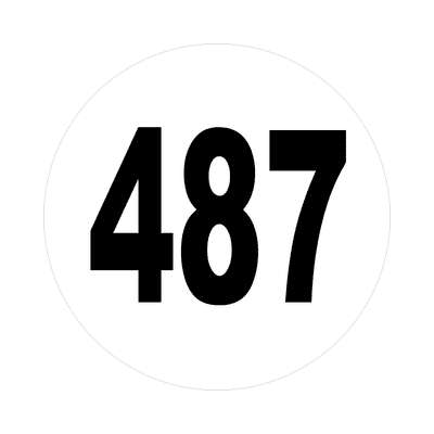 number four hundred eighty seven 487 sticker math plain number