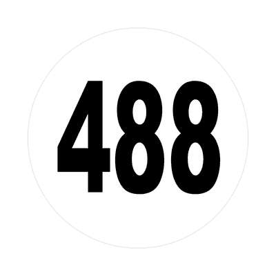 number four hundred eighty eight 488 sticker math plain number