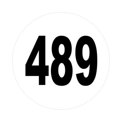 number four hundred eighty nine 489 sticker math plain number