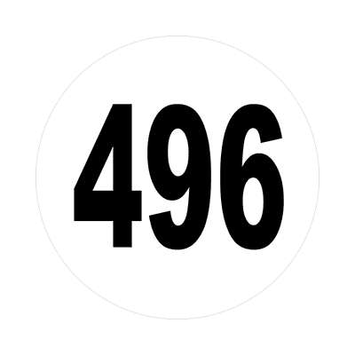 number four hundred ninety six 496 sticker math plain numbersticker math plain number