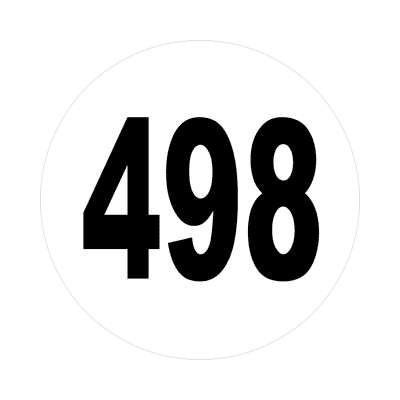 number four hundred ninety eight 498 sticker math plain number