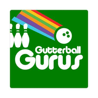 gutterball gurus bowling pins team sticker sports recreation funny sayings