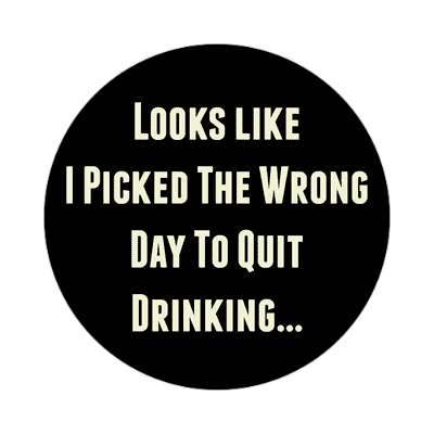 looks like i picked the wrong day to quit drinking sticker random funny sayings joke hilarious silly goofy
