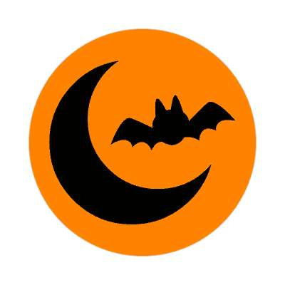bat and moon sticker halloween holidays funny sayings pumpkin bats witch monster frankenstein vampire dracula scary
