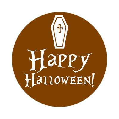 happy halloween coffin sticker halloween holidays funny sayings pumpkin bats witch monster frankenstein vampire dracula scary