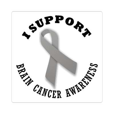 i support brain cancer awareness sticker ribbons cancer disease ribbon