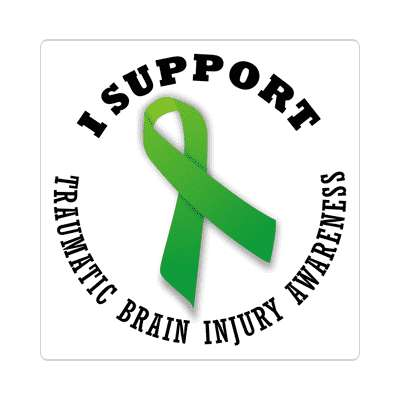 i support traumatic brain injury awareness sticker ribbons cancer disease ribbon