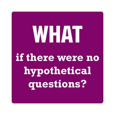 what if there were no hypothetical questions sticker funny philosophical wise sayings intelligent questions random funny sayings joke hilarious silly goofy