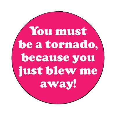 you must be a tornado because you just blew me away magnet pick up lines funny sayings