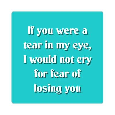if you were a tear in my eye i would not cry for fear of losing you sticker pick up lines funny sayings