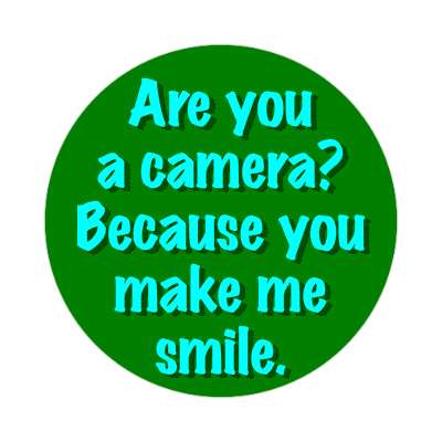 are you a camera because you make me smile sticker pick up lines funny sayings