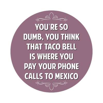 youre so dumb you think that taco bell is where you pay your phone calls to mexico sticker witty insults funny sayings funny anecdotes jokes novelty hilarious fun
