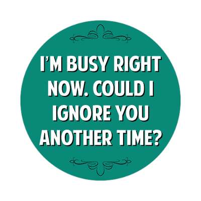 im busy right now could i ignore you another time sticker witty insults funny sayings funny anecdotes jokes novelty hilarious fun