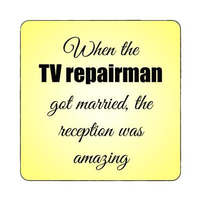 when the tv repairman got married the reception was amazing magnet funny puns novelty random goofy hilarious