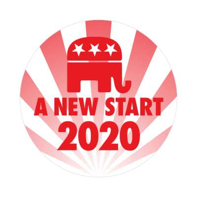 a new start democrat republican sticker modern political politics 2020