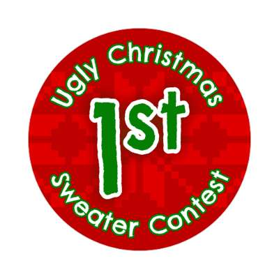first place ugliest christmas sweater contest Merry christmas sticker christmas holiday xmas xmas tree winter holiday