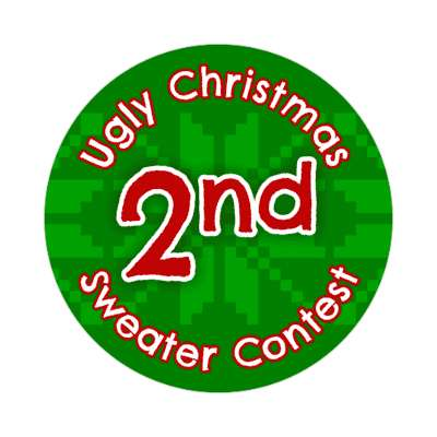 second place ugliest christmas sweater contest Merry christmas sticker christmas holiday xmas xmas tree winter holiday