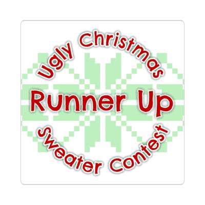 runner up ugliest christmas sweater contest Merry christmas sticker christmas holiday xmas xmas tree winter holiday