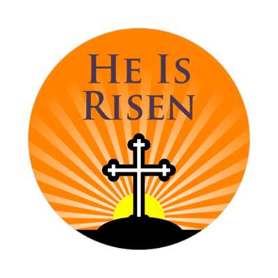 he is risen happy easter sticker easter bunny holiday bunny rabbit egg sunday jesus resurrection