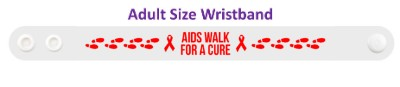 aids hiv walk for a cure footsteps awareness ribbons wristband