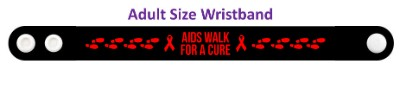 aids walk for a cure black footsteps ribbons wristband
