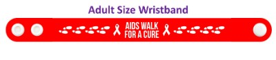 aids walk for a cure red footsteps white hiv wristband