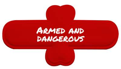 armed and dangerous gun owner stickers, magnet