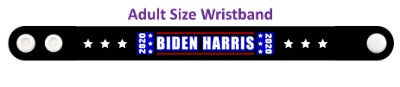 biden harris 2020 black six white stars wristband