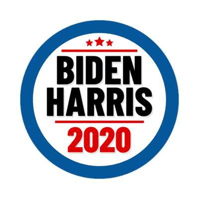 biden harris 2020 blue border sticker