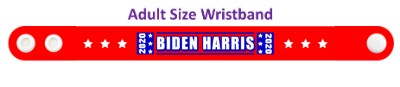 biden harris 2020 red six white stars wristband