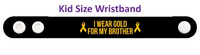 black i wear gold for my brother childhood cancer awareness ribbons wristba