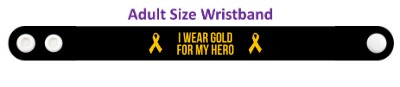black i wear gold for my hero childhood cancer awareness wristband