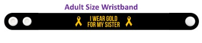 black i wear gold for my sister childhood cancer awareness wristband