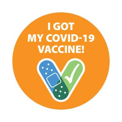 i got my covid 19 vaccine orange stickers, magnet