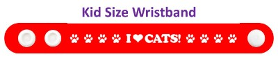 i love cats red paw prints heart wristband