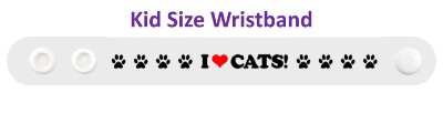 i love cats white paw print heart wristband