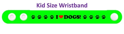 i love dogs green paw print heart wristband