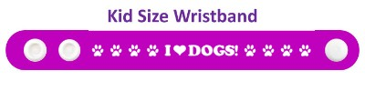 i love dogs purple paw print heart wristband