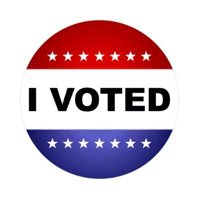 i voted political red white blue classic stars stickers, magnet