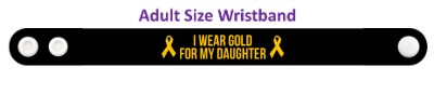 i wear gold for my daughter childhood cancer awareness wristband