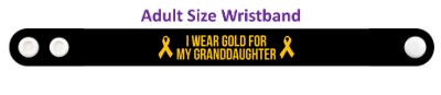 i wear gold for my granddaughter childhood cancer awareness wristband