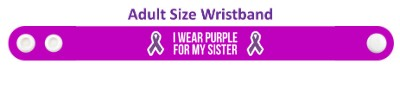 i wear purple for my sister domestic violence awareness ribbon wristband